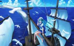 Picture the sky, girl, clouds, the ocean, ship, height, seagulls, anime, art, vocaloid, hatsune miku, sombernight