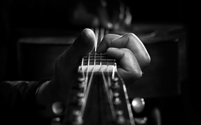 Picture GUITAR, HAND, MACRO, Black and WHITE, FRAME, NOTES, FINGERS, FRETS, GRIF, STRINGS, DECA, KALKI, VIBRATION, …