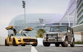 Picture widescreen, mercedes-benz sls amg desert gold 2010 cars