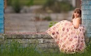 Picture look, dress, girl, bricks