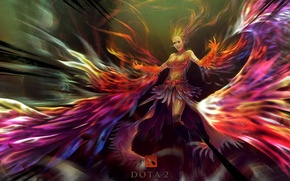 Picture girl, fire, paint, art, Slayer, Dota 2, Lina
