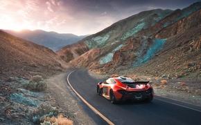 Picture McLaren, Orange, Death, Sand, Supercar, Valley, Hypercar, Exotic, Rear, Volcano, Extra, Terrestrial