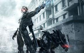 Picture house, sword, armor, Ninja, Cyborg, Raiden, Metal Gear Rising: Revengeance, Platinum Games, Konami, Kojima Productions