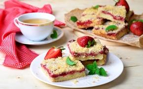 Wallpaper tea, pie, cakes, strawberry, mint