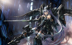 Picture girl, metal, weapons, robot, sword, art, fur, blue+