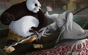 Picture weapons, bird, Asia, art, rage, Panda, peacock, spear, karuma9, lord shen, Kung Fu Panda