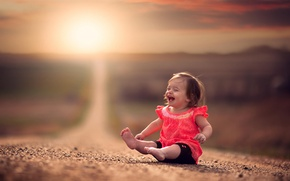 Picture road, laughter, girl, bokeh