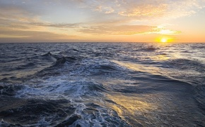 Wallpaper sea, wave, the sun, clouds, horizon