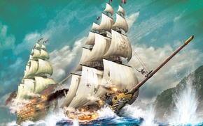 Picture sea, wave, squirt, rocks, ships, gun, steampunk, the battle, battleships, andrea uderzo
