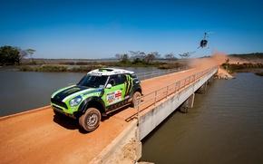 Picture Bridge, Green, Helicopter, Race, Mini Cooper, Rally, Dakar, Dakar, MINI, Mini Cooper, X-raid