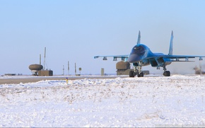 Picture snow, The plane, the airfield, su-34, Fullback, Sukhoi, The Russian air force, Soviet/Russian bomber