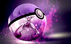Picture tail, red eyes, open mouth, pokemon, pokeball, mewtwo