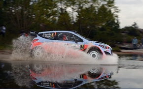 Picture Reflection, Puddle, Squirt, Hyundai, WRC, Rally, Rally, i20, Hyundai, Thierry Neuville