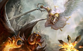 Picture castle, wings, angel, sword, the devil, Heroes of Might & Magic, Heroes of might and …