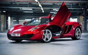 Picture red, McLaren, lighting, McLaren, Parking, red, side view, MP4-12C