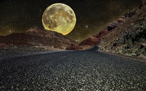 Picture road, the moon, huge, morocco