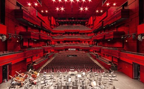 Wallpaper architecture, music, opera, seats, lights, stage, theater, red
