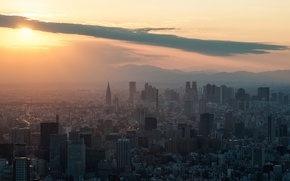 Picture sunset, building, The sun, skyscrapers, Tokyo, Shinjuku, sunset, Tokyo SkyTree