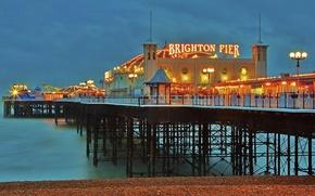 Picture beach, lights, England, the evening, pierce, twilight, Brighton