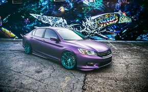 Picture Honda, wheels, Honda, Accord, Tuning, purple, frontside, Chord