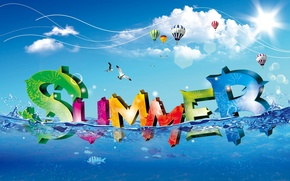 Wallpaper summer, water, clouds, balls, summer