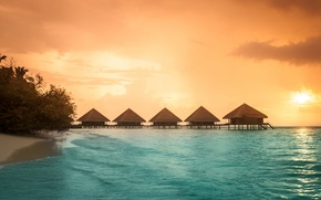 Picture the ocean, the evening, The Maldives, resort