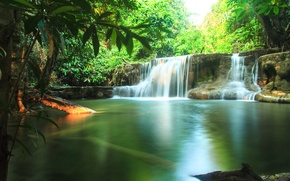 Wallpaper the sun, greens, stream, waterfall, Thailand, tropics, forest