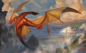 Picture clouds, mountains, dragon, art, Smaug, The Hobbit: The Desolation Of Smaug, The Hobbit: The Desolation …