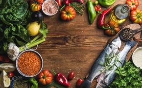Wallpaper fish, table, food, fish, vegetables, seasoning