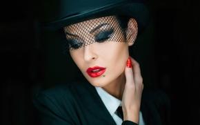 Picture portrait, makeup, hat, veil