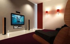 Wallpaper living room, sofa, home theater