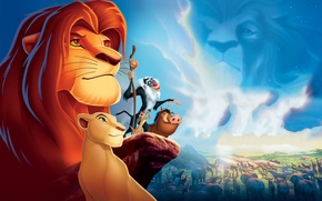 Wallpaper Wallpaper, the film, the lion king, lioness, clouds, animals, Timon, nature, boar, rock, Pumbaa, Nala, ...