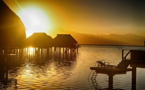 Picture ocean, sunset, Bora-Bora, water bungalows