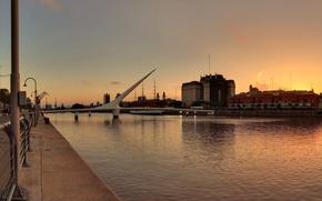 Picture sunset, bridge, sailboat, promenade, Argentina, Argentina, Buenos Aires, Buenos-Aires, laid