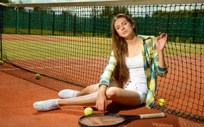 Picture girl, pose, mesh, racket, light, summer, brown hair, balls, Playground, tennis, Anton Pechkurov