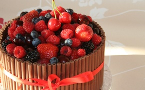 Picture chocolate, cake, fruit