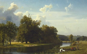 Wallpaper landscape, river, boat, picture, Albert Bierstadt, Westphalia