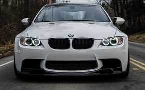 Picture road, white, bmw, BMW, white, the front, e92