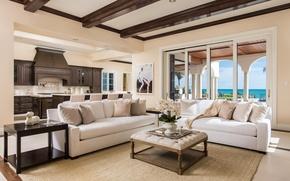 Picture ocean, luxury, kitchen, livingroom