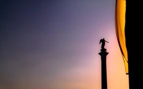 Picture City, Sky, Sunset, Flag, Stuttgart, Statue