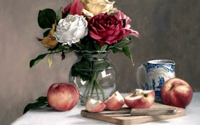 Picture apples, picture, still life, vase with flowers
