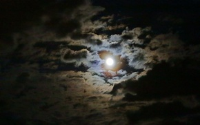 Picture clouds, night, the moon