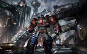 Picture road, the city, the world, the game, Transformers, iron
