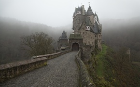 Picture road, Fog, Germany, Castle, Eltz Castle, ELTZ Castle