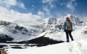 Picture girl, snow, mountains, hide