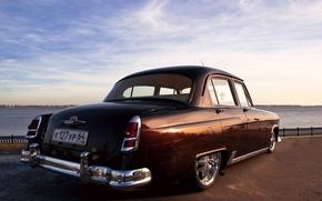 Picture retro, car, sedan, Volga, Volga, Gaz, GAZ 21