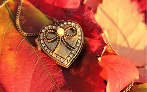 Picture autumn, leaves, macro, heart, pendant, crystals, heart, suspension, bead