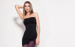 Picture look, girl, pose, background, makeup, beautiful, black dress