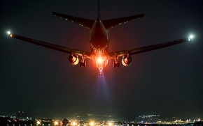 Picture night, the plane, airport, landing, Osaka, red light