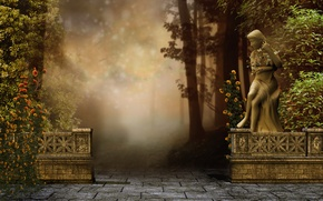 Wallpaper flowers, Park, mood, statue, fog, trees, art